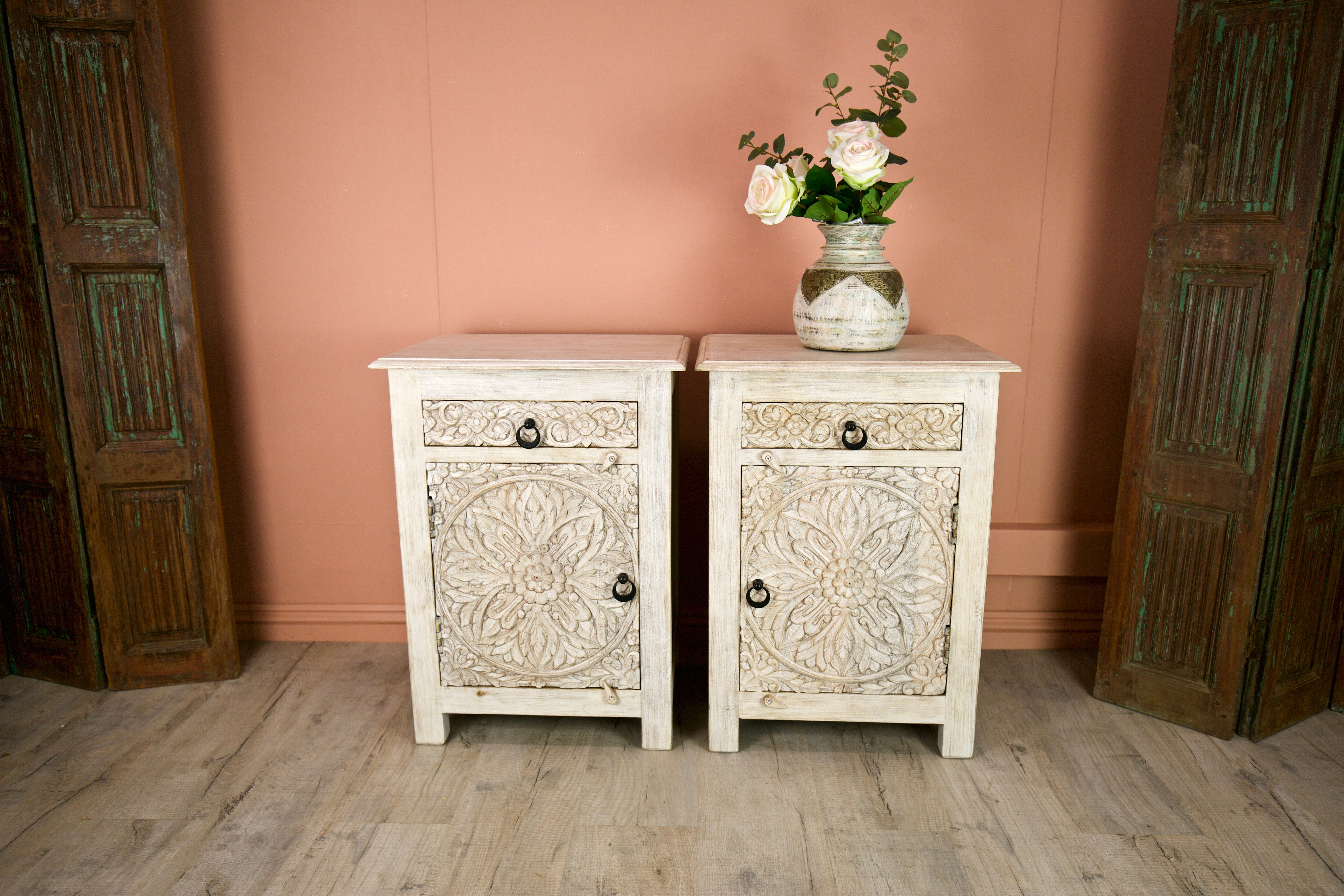 the best attitude f3e9b dba59 Pair of carved Bedside Tables made from Mango wood