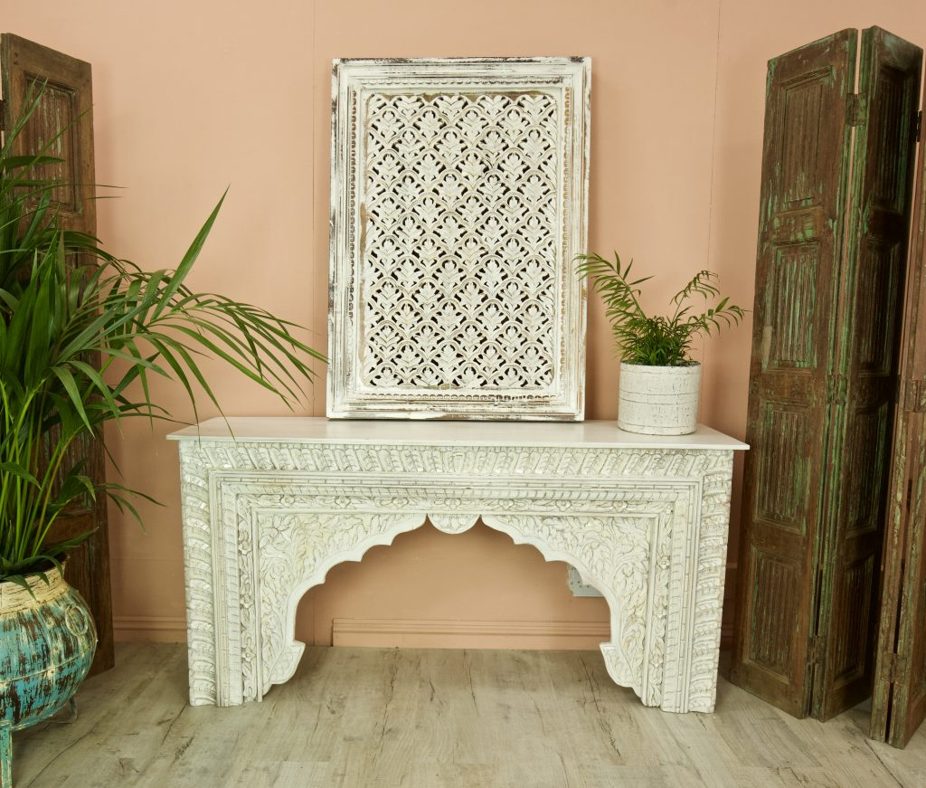 Vintage Style White Indian Console Table With Carvings